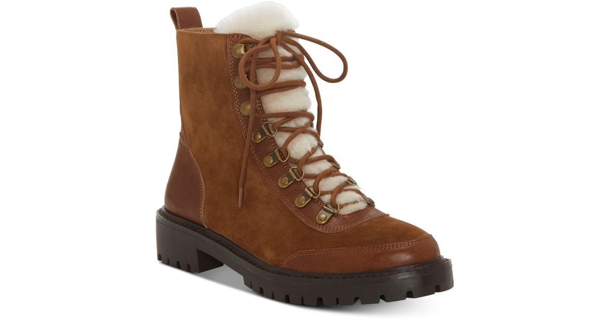Lucky Brand Women/'s Ilianna Cedar Brown Suede Fur Lined Combat Lace Up Boots