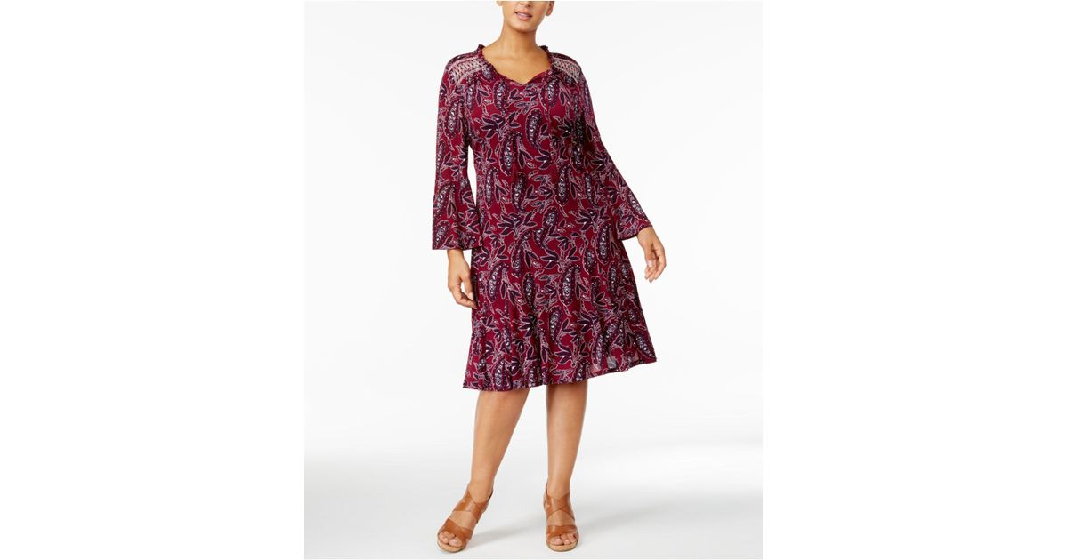 Lyst Style Co Plus Size Printed Lantern Sleeve Fit Flare