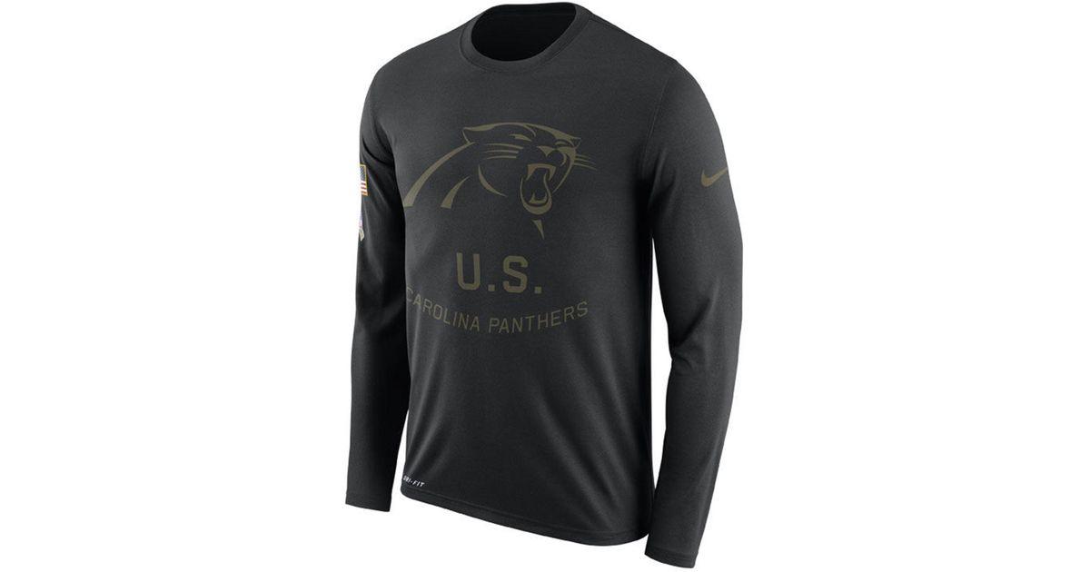 wholesale dealer e6238 076b6 Nike Black Carolina Panthers Salute To Service Legend Long Sleeve T-shirt  for men