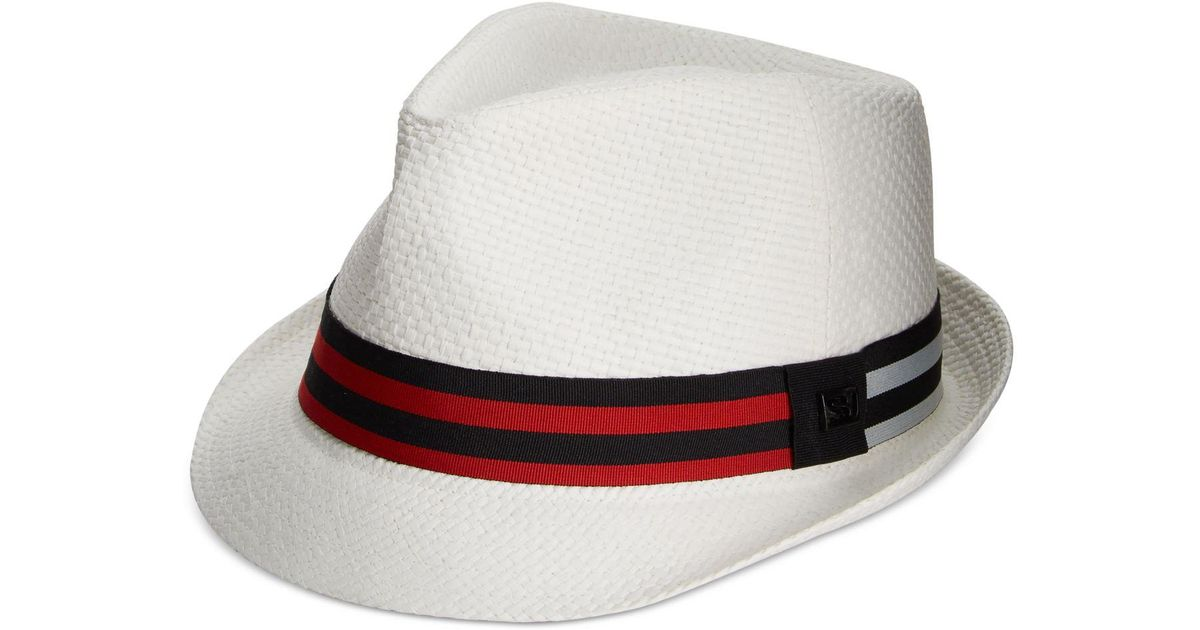 1a566c076e587 Lyst - Sean John Men s Grosgrain Fedora in White for Men