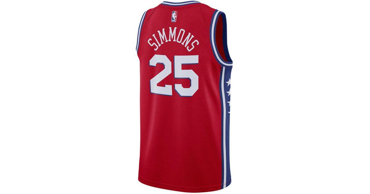 06bba84db4d7 Lyst - Nike Ben Simmons Philadelphia 76ers Statement Swingman Jersey in Red  for Men