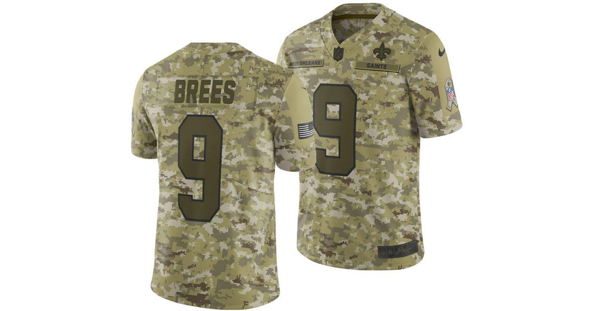 new product 9c5ce 78da1 Nike Green Drew Brees New Orleans Saints Salute To Service Jersey 2018 for  men