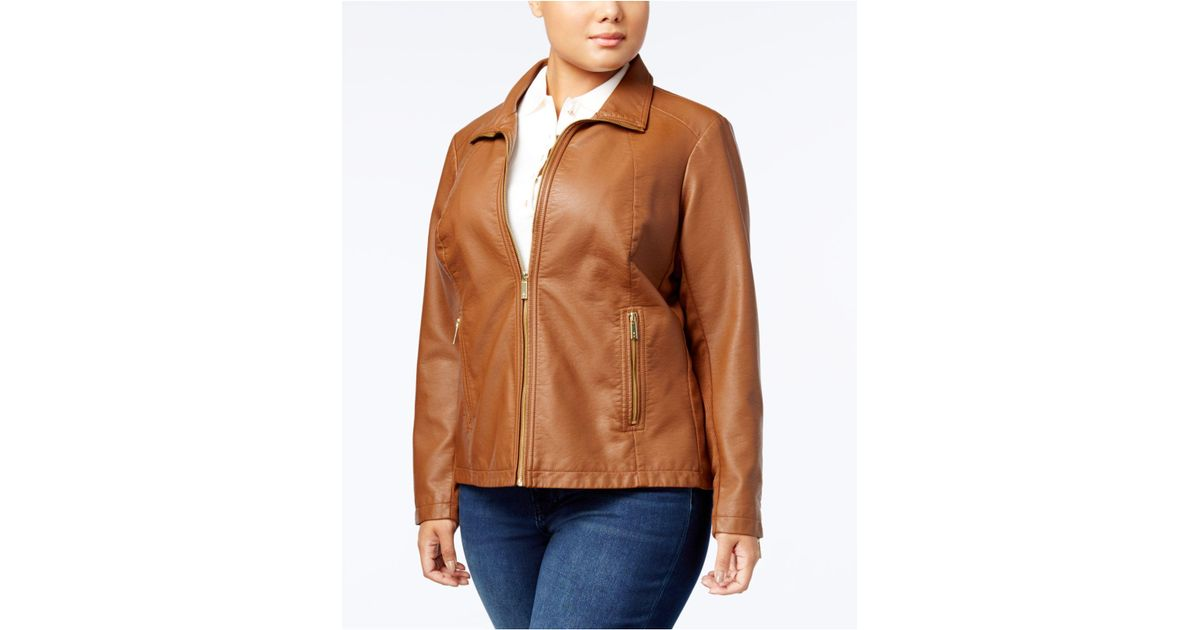 db82d869510 Lyst - Kenneth Cole Plus Size Knit-sleeve Faux-leather Jacket in Brown