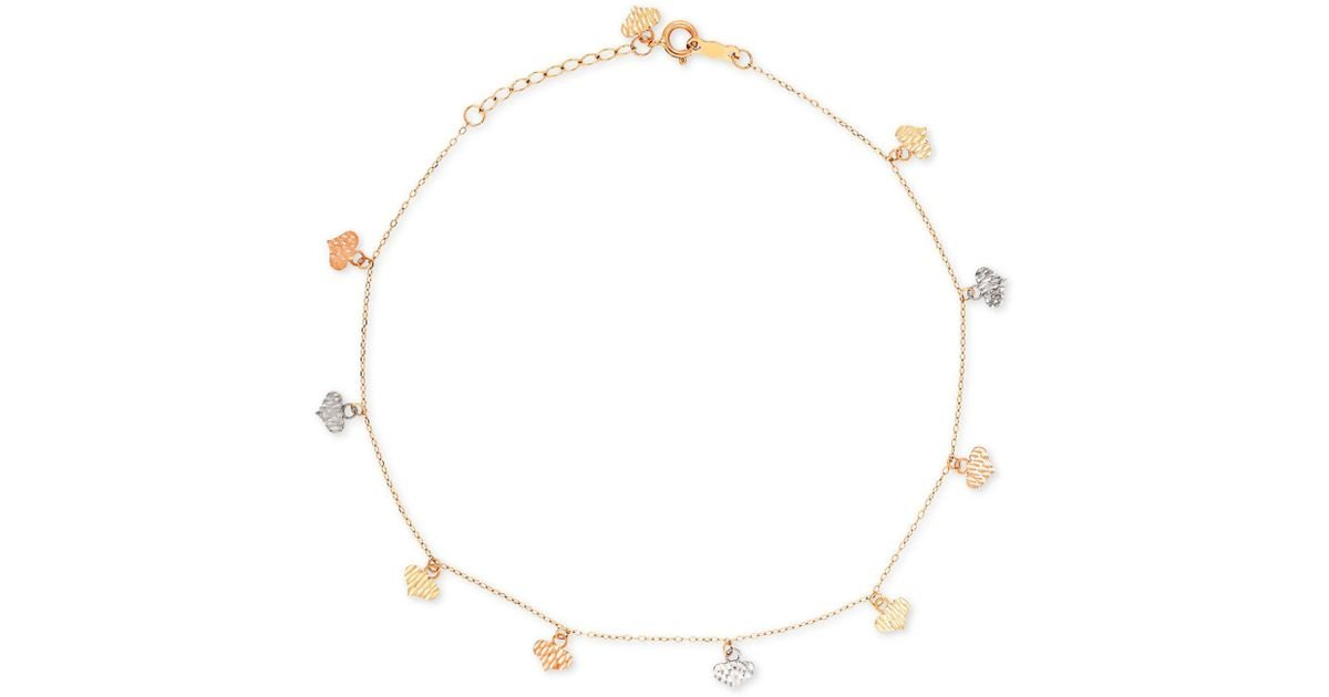 d27608dbbed1ba Macy's Tri-color Flat Heart Charm Ankle Bracelet In 14k Yellow, White, And  Rose Gold - Lyst