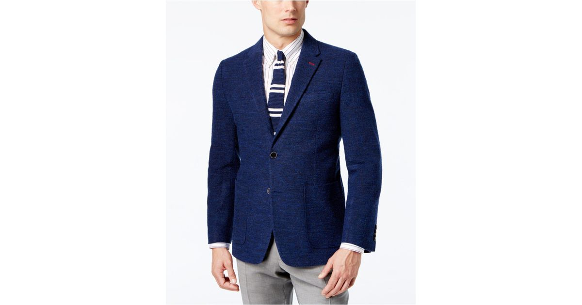 0c995ff63 Tommy Hilfiger Blue Men's Slim-fit Solid Bouclé Sport Coat for men