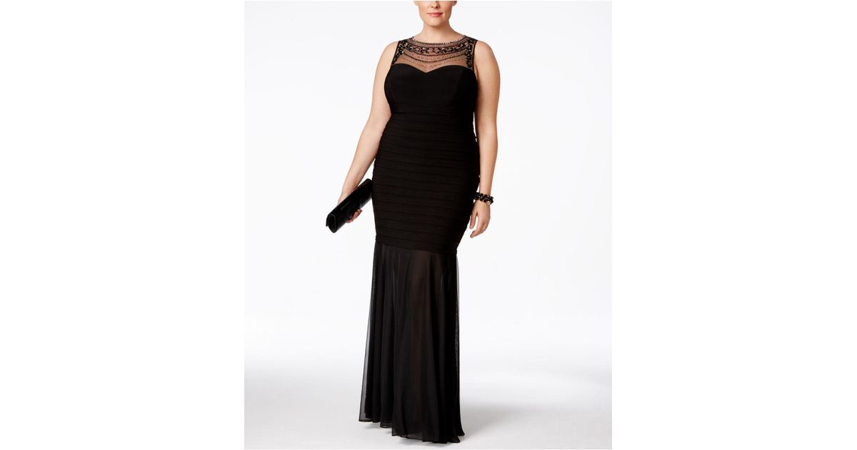 Xscape Plus Size Beaded Illusion Mermaid Gown in Black | Lyst