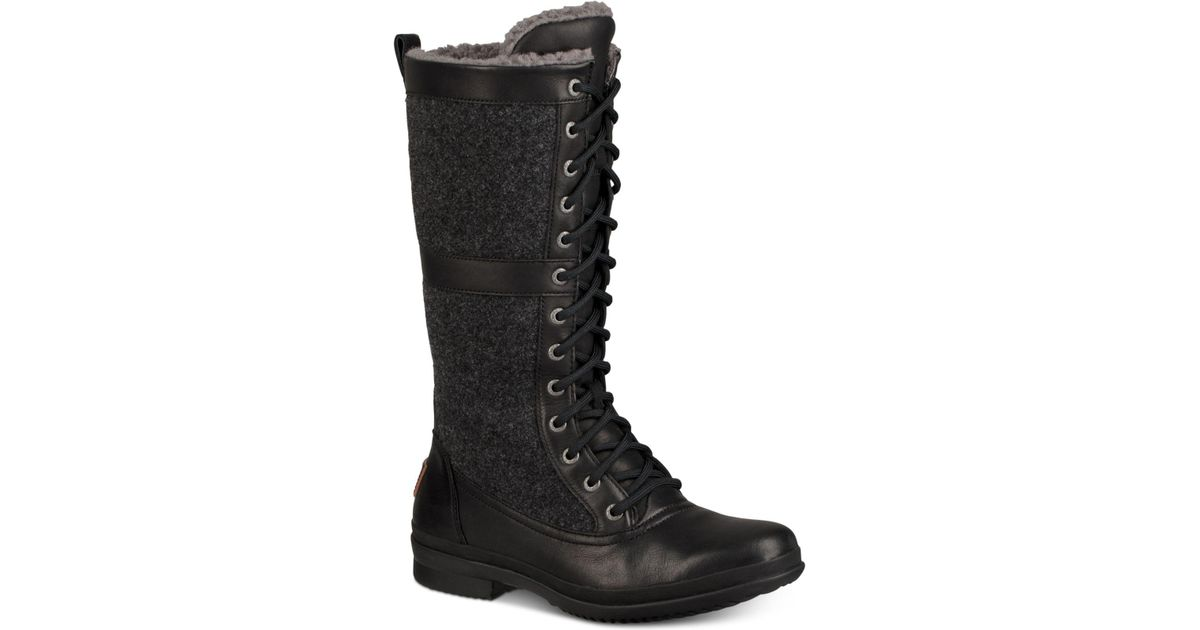64dc57bf665 Ugg Black Elvia Tall Lace-up Boots