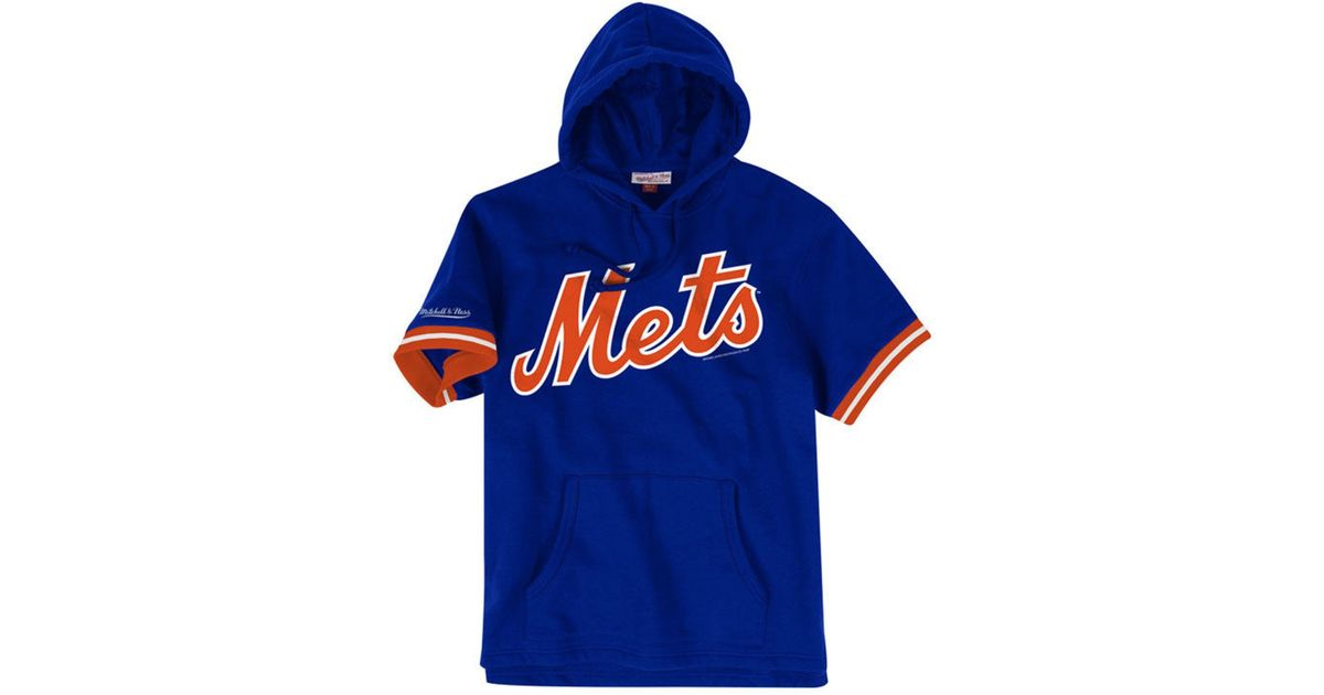 reputable site 26ce3 bcd85 Mitchell & Ness Blue New York Mets French Terry Short Sleeve Hoodie for men