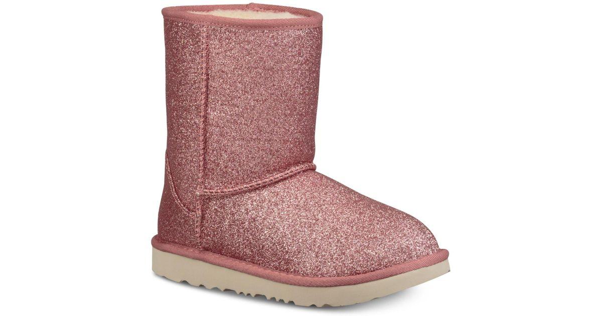 dfdb234b9ed Ugg Pink Toddler Classic Short Ii Glitter Boots