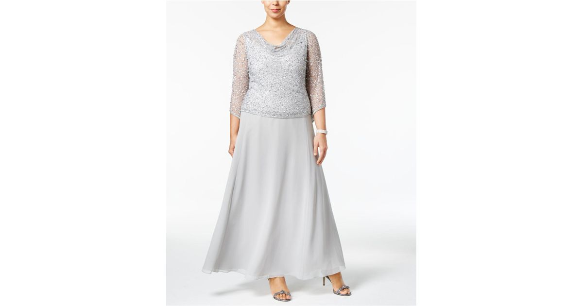 a7377ebe1b6 Lyst - J Kara Plus Size Draped Sequined Gown in Metallic