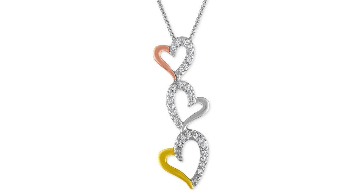 Lyst macys diamond tri color triple heart pendant necklace 110 lyst macys diamond tri color triple heart pendant necklace 110 ct tw in metallic aloadofball Images