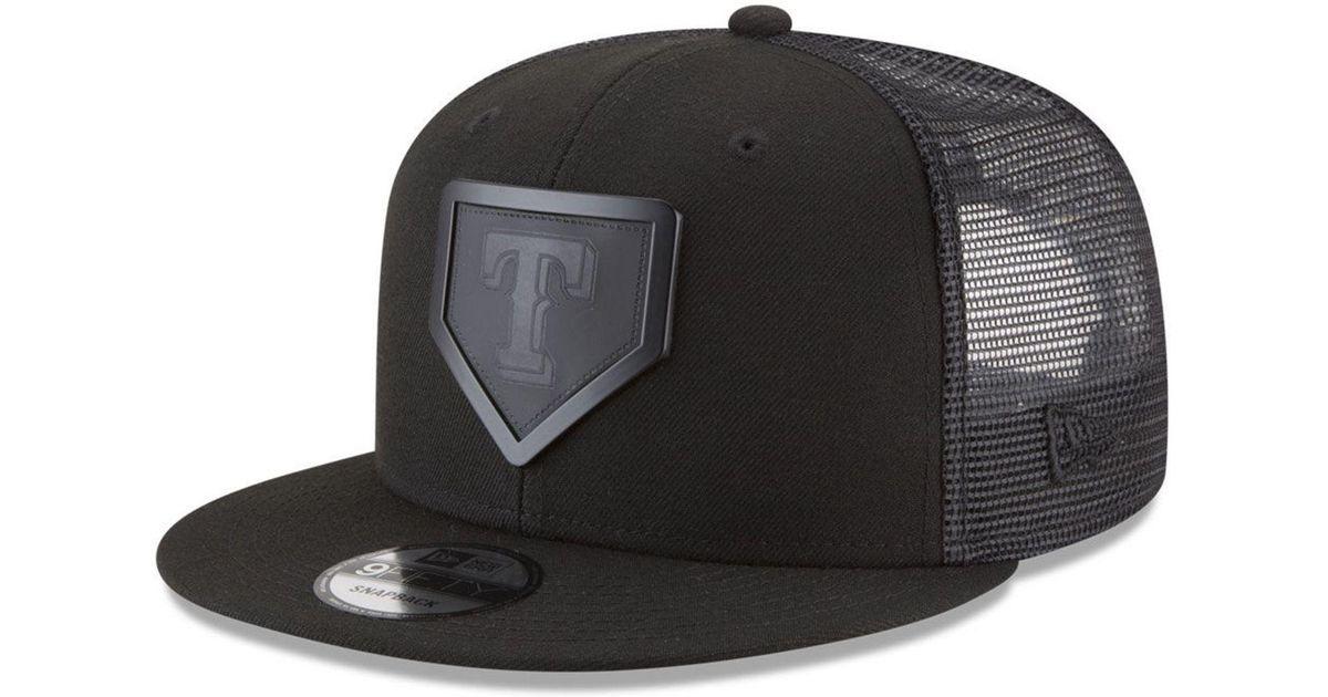 new arrival 1ad86 a86c1 ... shop lyst ktz texas rangers leather metal plate 9fifty cap in black for  men 2de88 44199