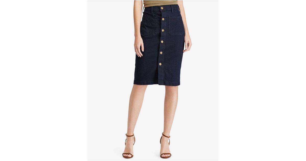ab8f07c53e Lyst - Polo Ralph Lauren Button-front Denim Pencil Skirt in Blue