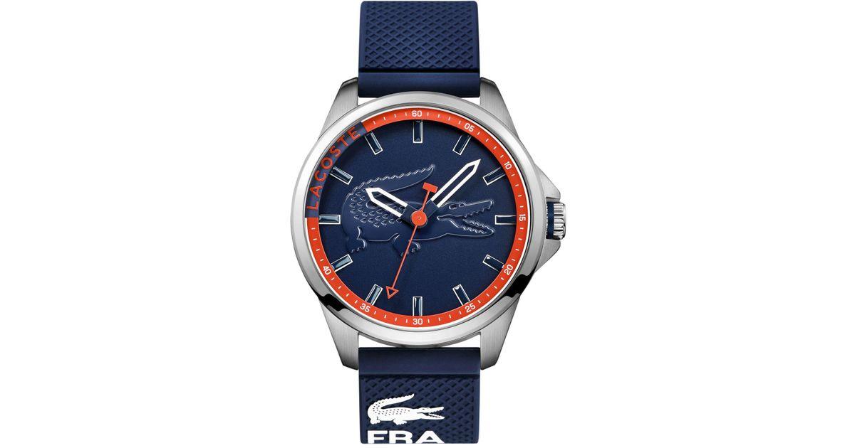 Lyst - Lacoste Men's Capbreton Blue Silicone Strap Watch 46mm 2010842 in Blue for Men