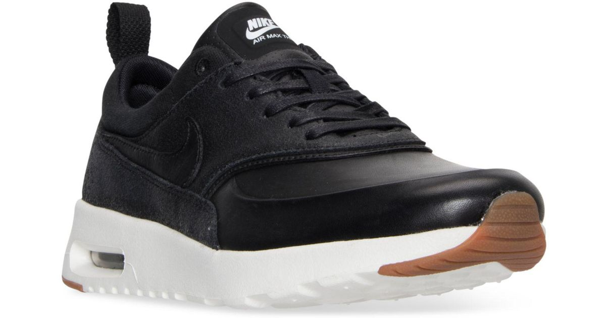 huge discount c923d 70561 Lyst - Nike Women s Air Max Thea Premium Running Sneakers From Finish Line  in Black