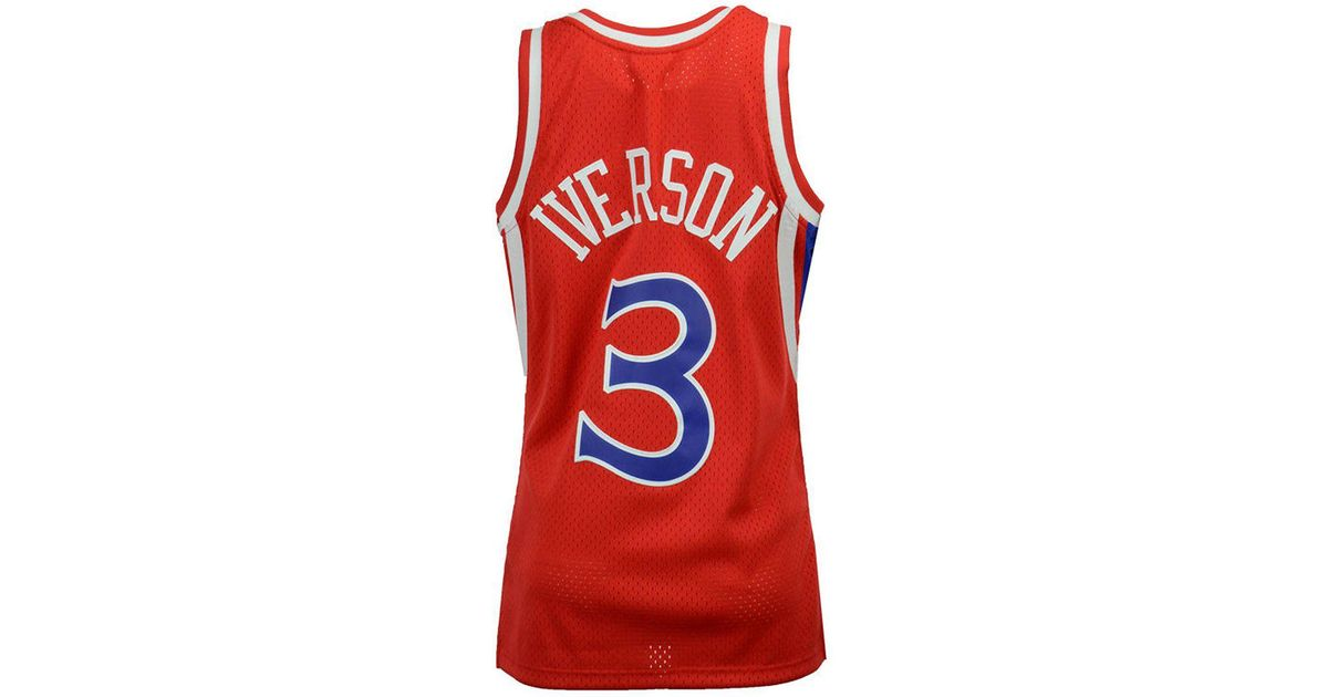 32666497a1a Mitchell & Ness Allen Iverson Philadelphia 76ers Hardwood Classic Swingman  Jersey in Red for Men - Lyst