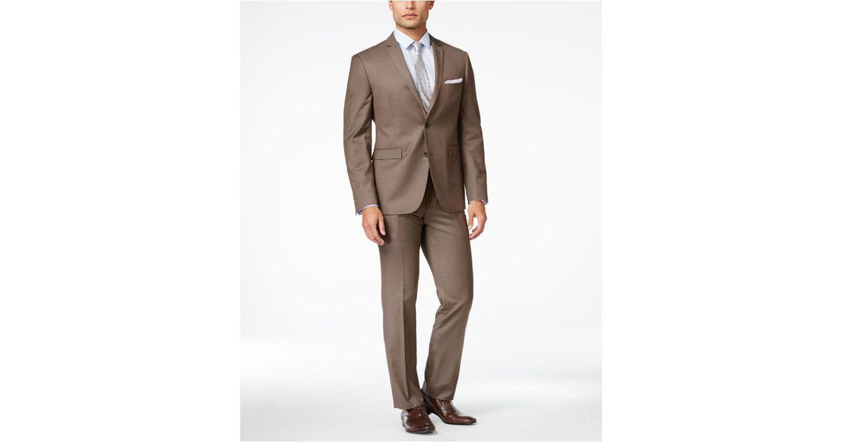959c69147de6ab Lyst – Perry Ellis Men's Medium Brown Sharkskin Extra-slim Fit Suit in  Brown for Men