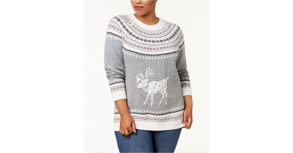 Lyst - Tommy hilfiger Plus Size Fair Isle Deer-print Sweater in Gray