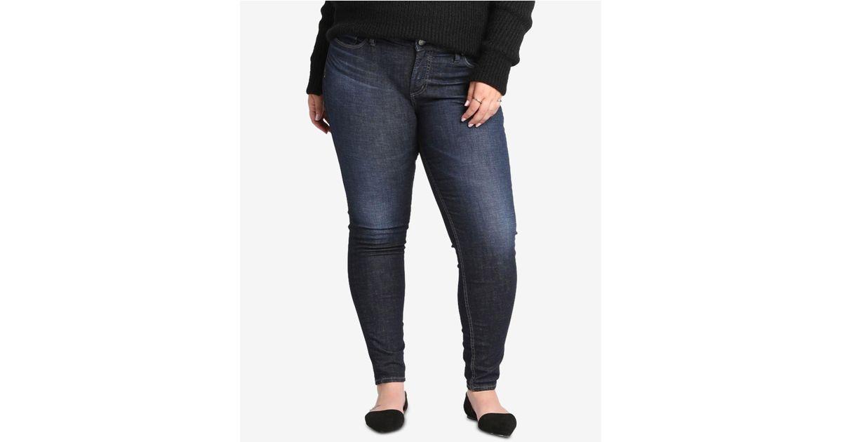 b7eea93f12d Lyst - Silver Jeans Co. Plus Size Elyse Curvy-fit Skinny Jeans in Blue