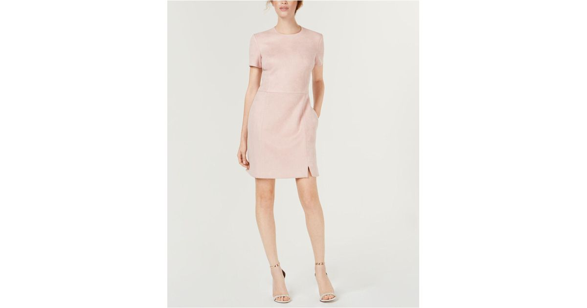 451993f7ea5 French Connection Faux-suede Dress in Pink - Lyst