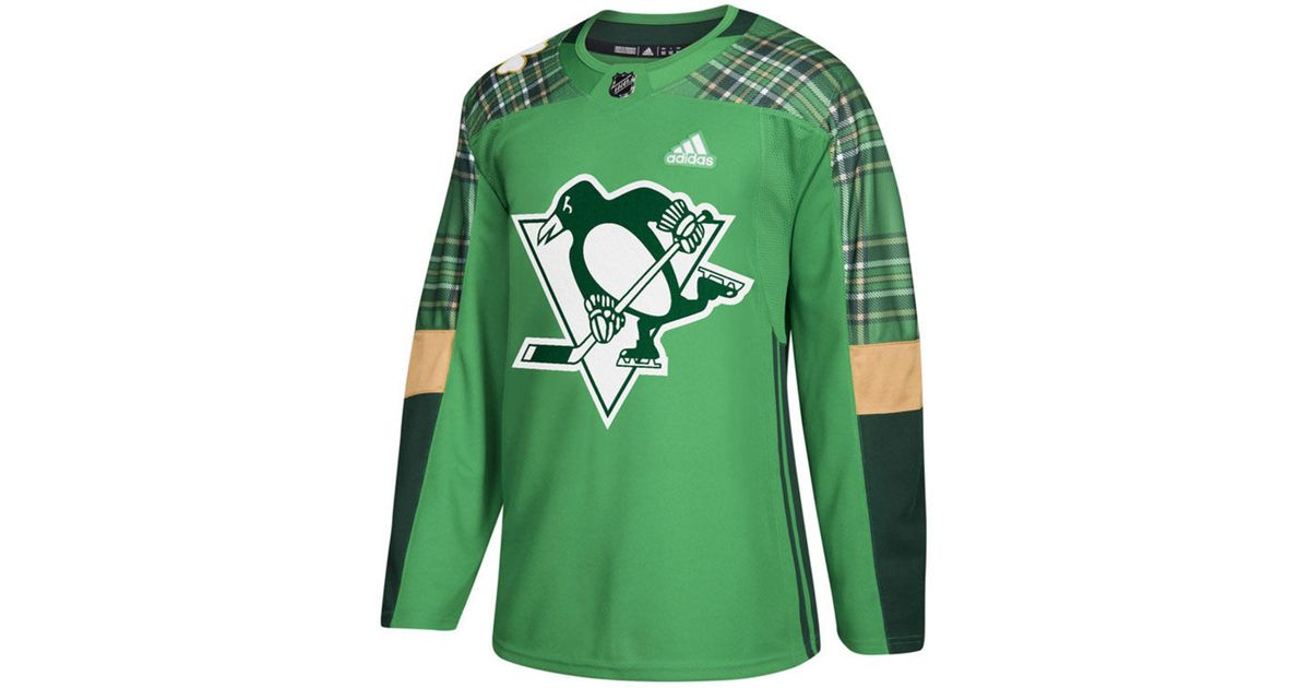 lowest price 35cb1 ee851 Adidas Green Pittsburgh Penguins St. Patrick's Day Authentic Jersey for men