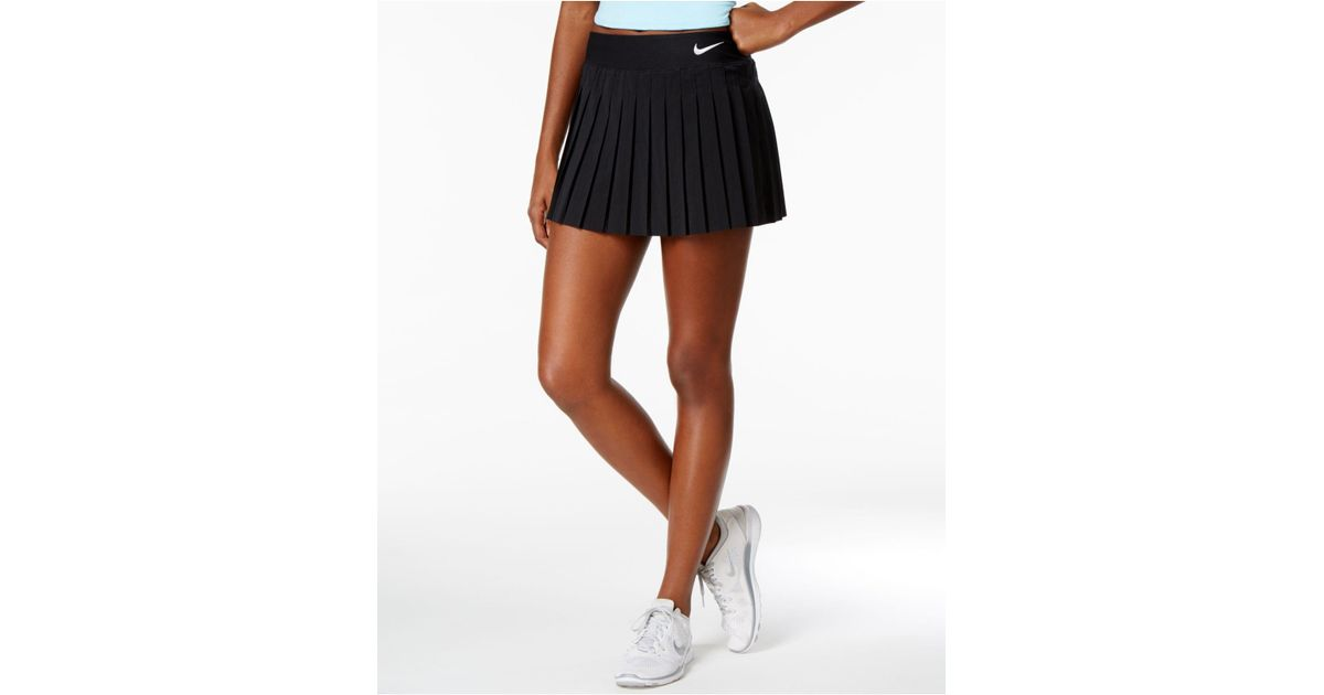 Nike Synthetic Court Victory Dri Fit Pleated Tennis Skirt In Black White Black Lyst
