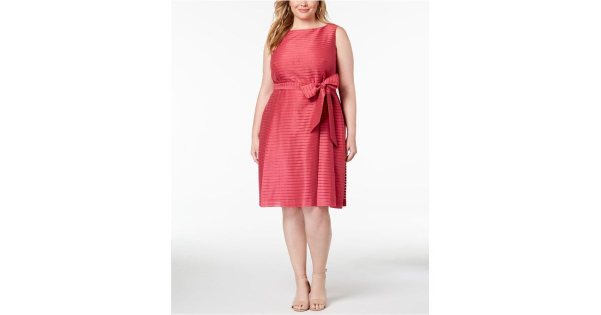 9c42421cda6 Lyst - Anne Klein Plus Size Shadow-striped Belted Fit   Flare Dress in Red