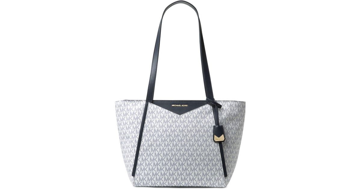 38bfd315ae57 Michael Kors Michael Signature Whitney Small Tote in Blue - Lyst