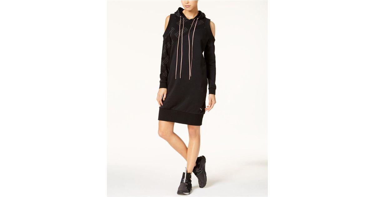 1f4106ddc8 PUMA En Point Cold-shoulder Hoodie Dress in Black - Lyst