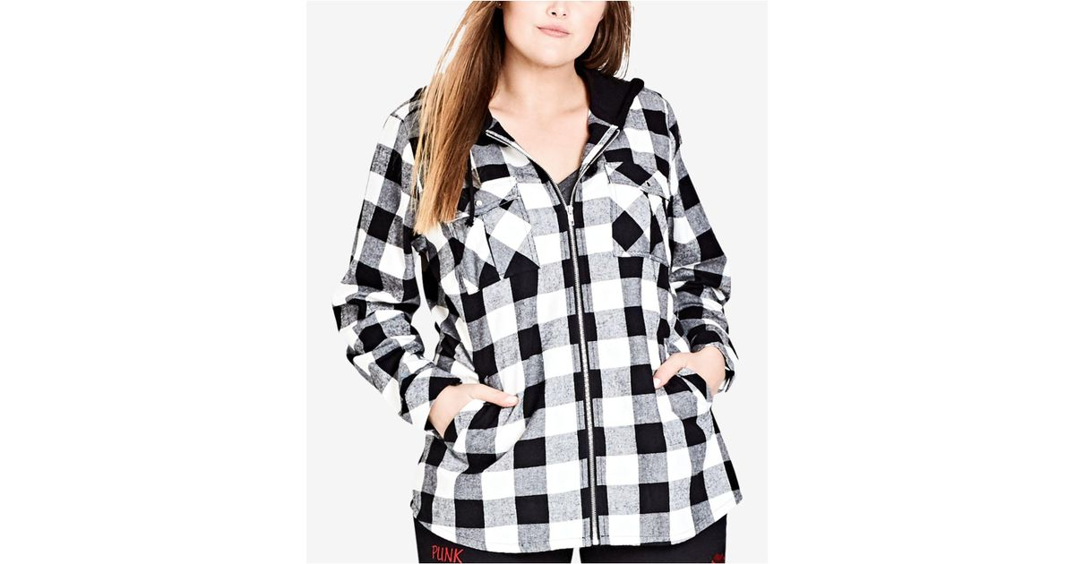 bfe24f4aaf674 Lyst - City Chic Trendy Plus Size Check Mate Hooded Jacket in Black