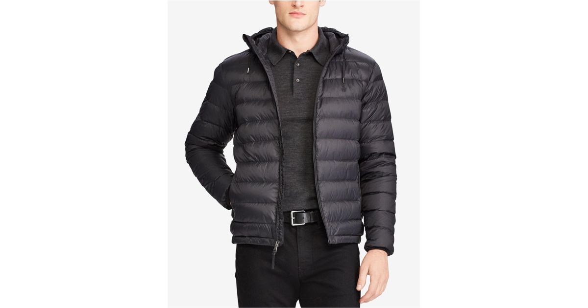 f87716f51ee4 Lyst - Polo Ralph Lauren Men s Big   Tall Packable Hooded Down Jacket in  Black for Men