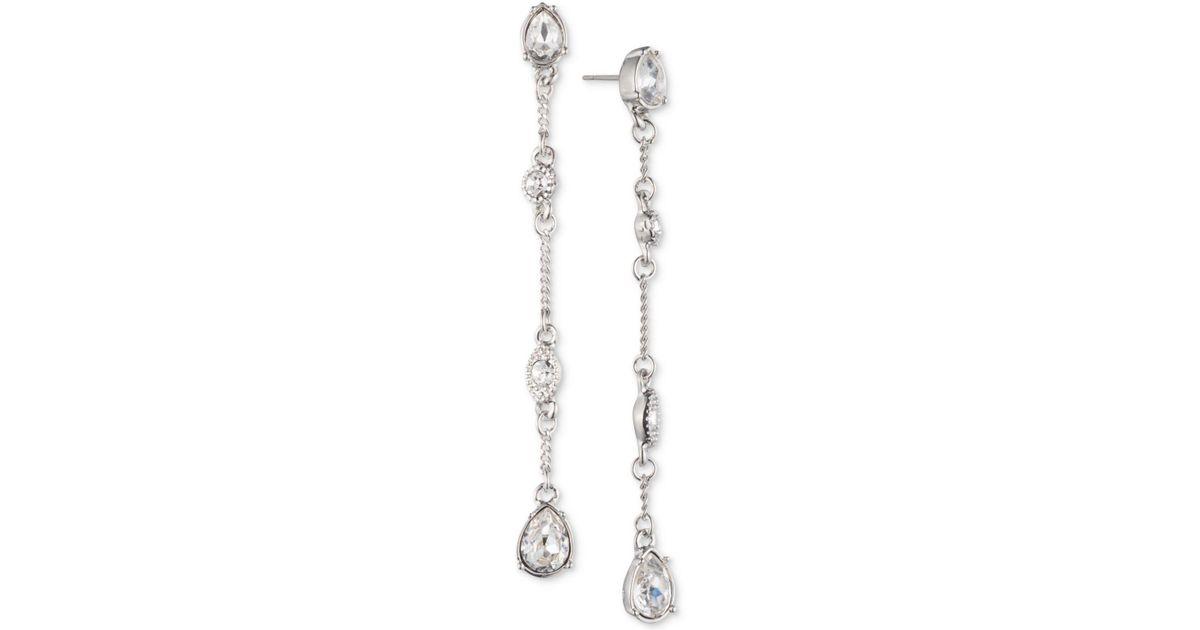 c44517e0bdd76 Givenchy Metallic Silver-tone Crystal Linear Drop Earrings