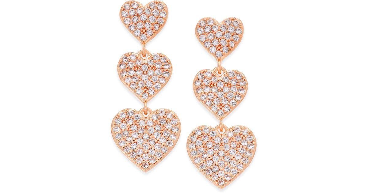 44688f536b70f Kate Spade - Metallic Rose Gold-tone Pavé Heart Triple-drop Earrings - Lyst