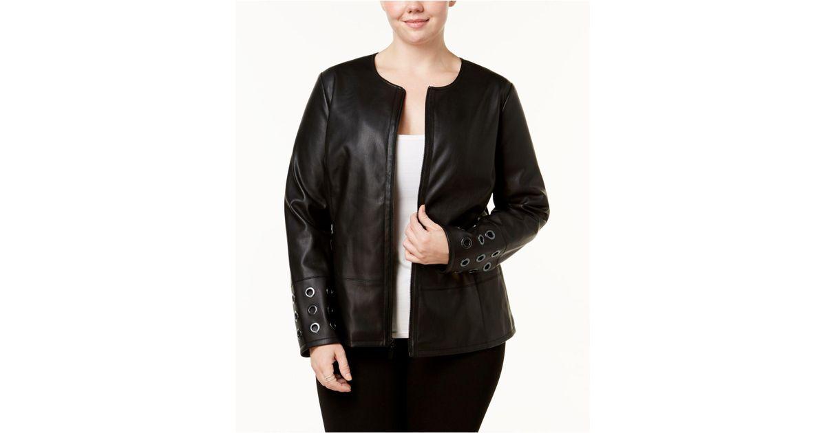 e1ce1af84ba Lyst - Alfani Plus Size Grommet-trim Faux-leather Jacket in Black