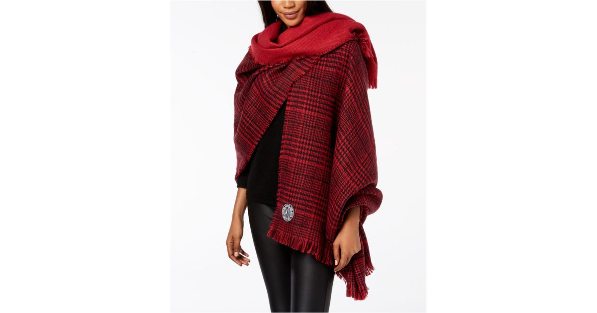 dbcc6f579f3a0 DKNY Red Houndstooth Plaid Oversized Woven Wrap, Created For Macy's