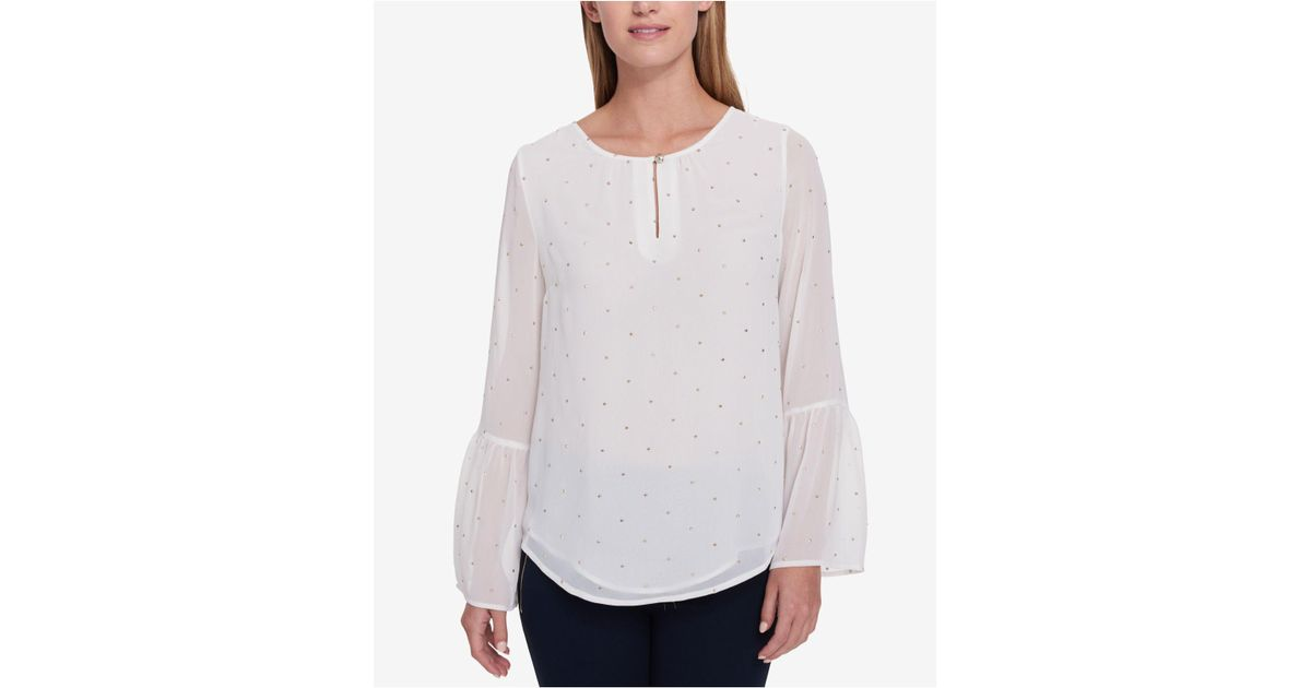 1119f4bf84f57 Lyst - Tommy Hilfiger Embellished Illusion Top in White