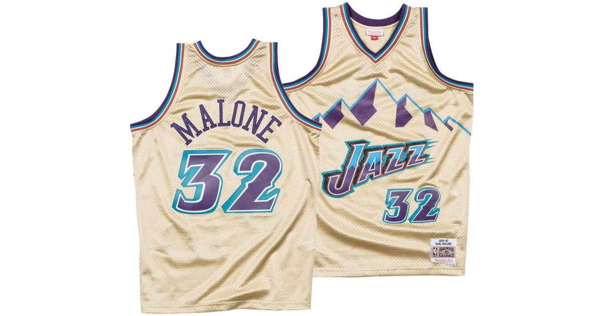 best loved d25ad fd4b5 Mitchell & Ness Metallic Karl Malone Utah Jazz Gold Collection Swingman  Jersey for men