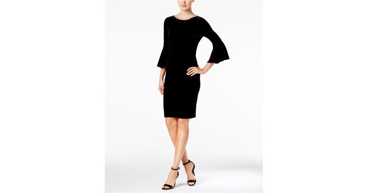 47a9e3a957f Calvin Klein Velvet Bell-sleeve Sheath Dress in Black - Lyst