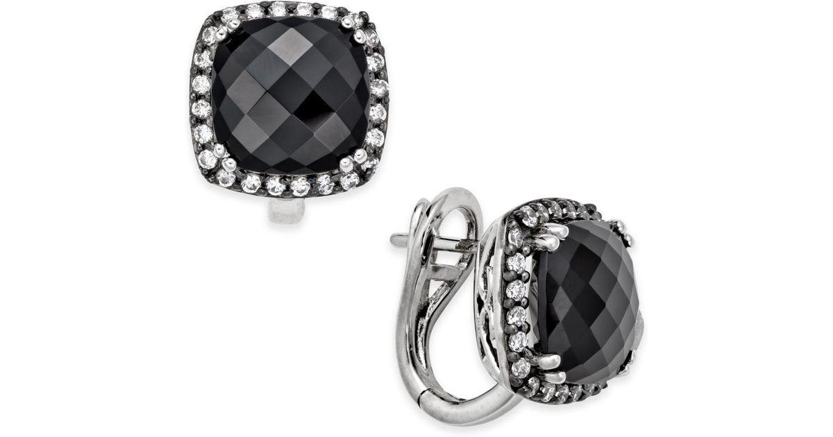 f73f3ce4c Lyst - Macy's Onyx (10mm) And Swarovski Zirconia Omega Back Stud Earrings  In Sterling Silver in Metallic