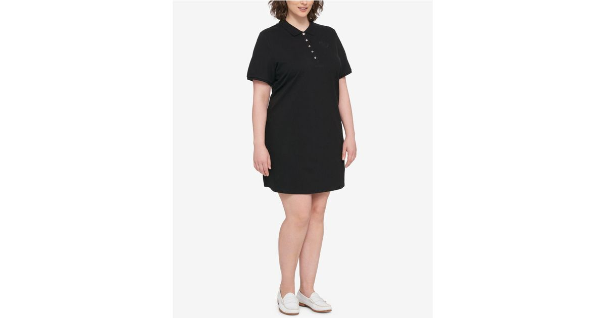 Lyst Tommy Hilfiger Plus Size Polo Shirtdress In Black