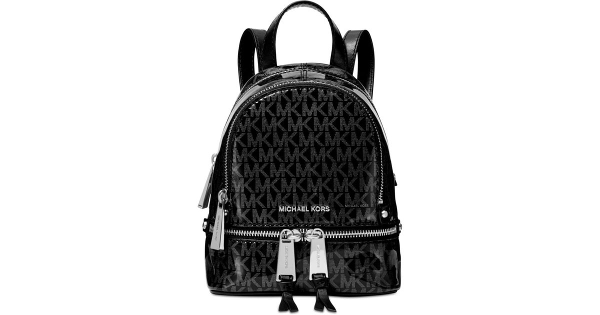2de2114961b70b Michael Kors Michael Signature Glossy Rhea Zip Convertible Backpack,  Created For Macy's in Black - Lyst
