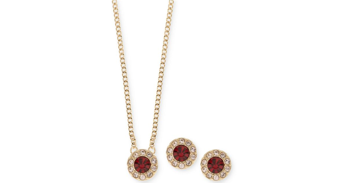 e44977fdac58d Givenchy Metallic Gold-tone Pavé And Red Stone Pendant Necklace & Stud  Earrings Set