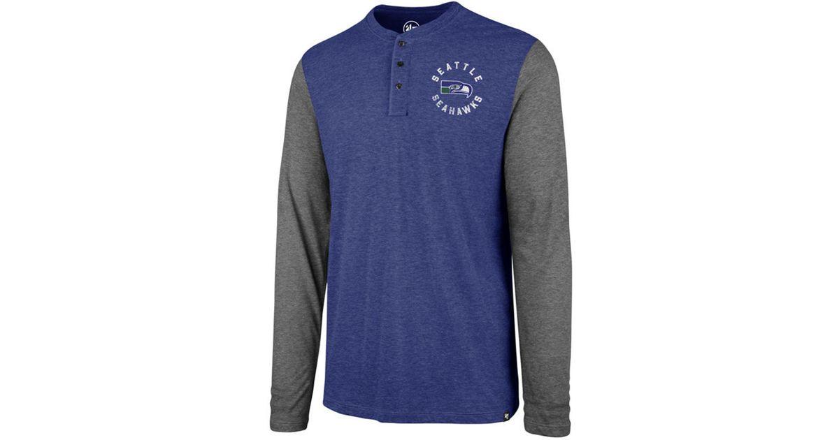 d60ef6ccf Lyst - 47 Brand Seattle Seahawks Retro Match Long Sleeve Henley T-shirt in  Blue for Men
