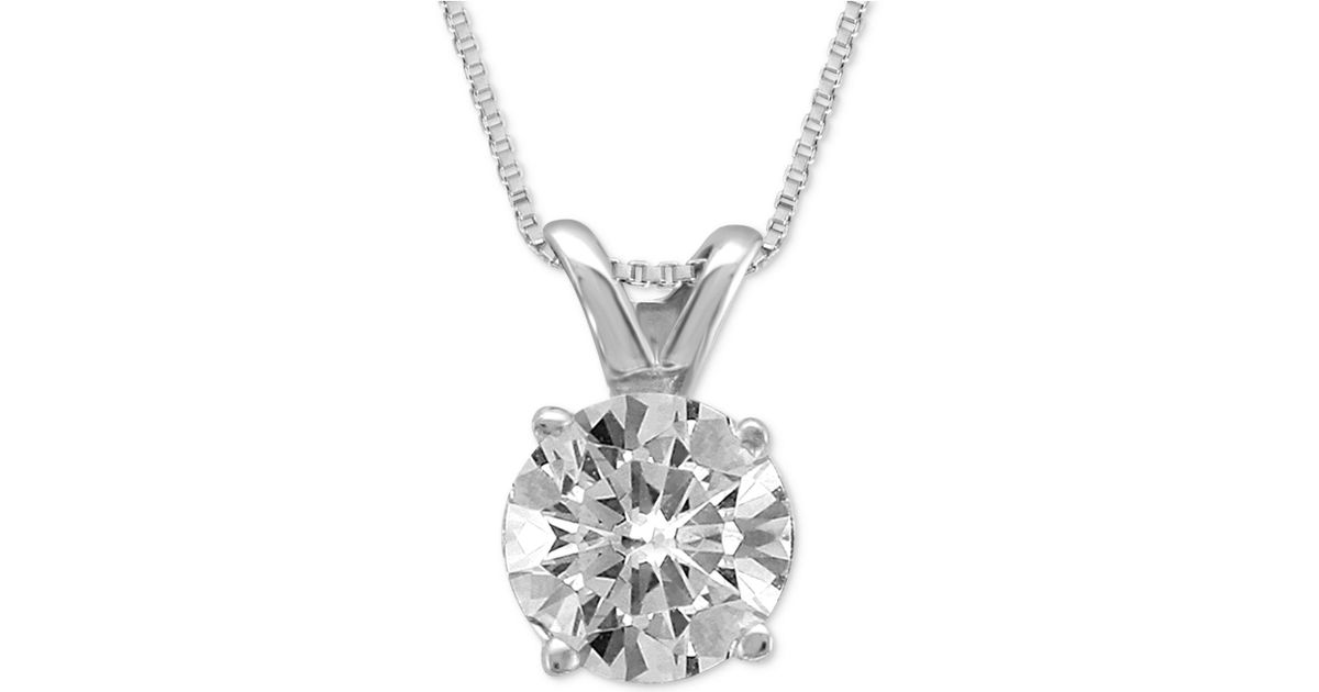 Lyst macys diamond solitaire pendant necklace 12 ct tw in lyst macys diamond solitaire pendant necklace 12 ct tw in metallic aloadofball Choice Image
