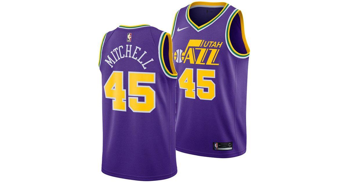 more photos a0983 3d5e1 Nike Purple Donovan Mitchell Utah Jazz Hardwood Classic Swingman Jersey for  men