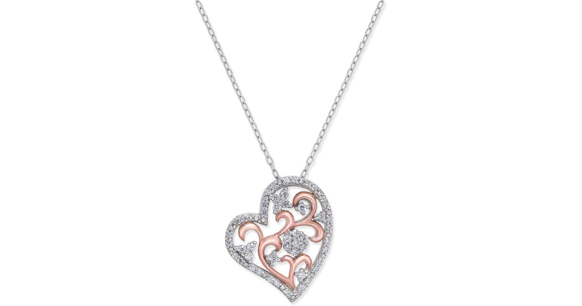 Lyst macys diamond two tone filigree heart pendant necklace 14 lyst macys diamond two tone filigree heart pendant necklace 14 ct tw in sterling silver and 10k rose gold in metallic aloadofball Gallery