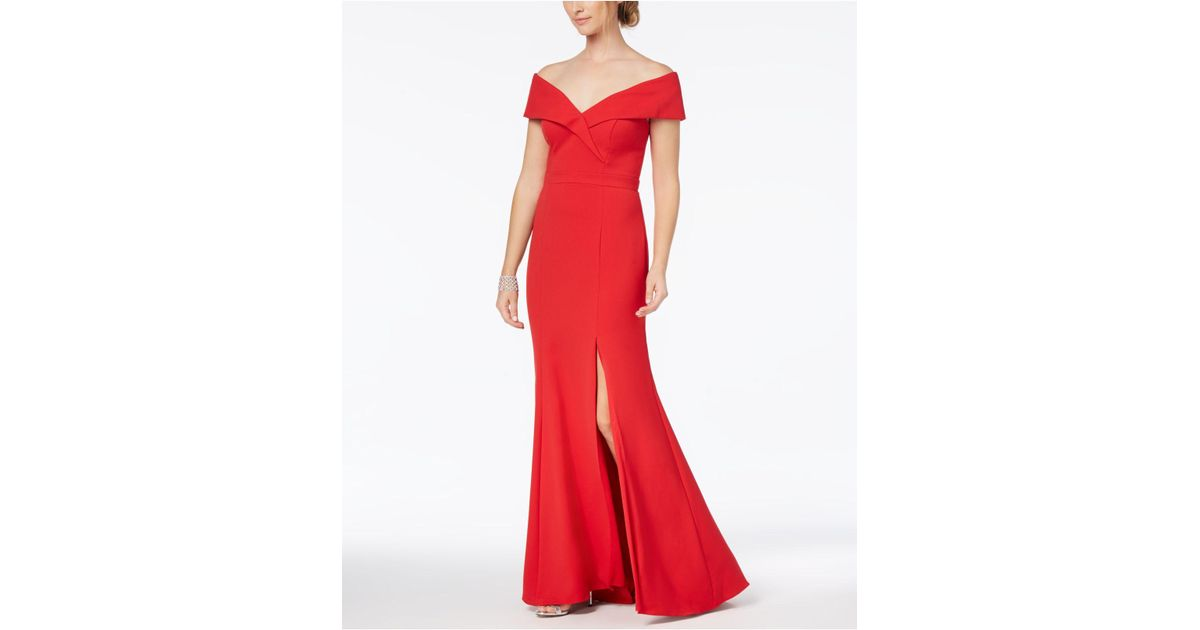 Lyst - Xscape Off-the-shoulder Gown in Red