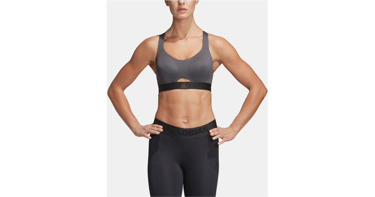 dd20ad03995 adidas Stronger Cross-back High-support Sports Bra in Gray - Lyst