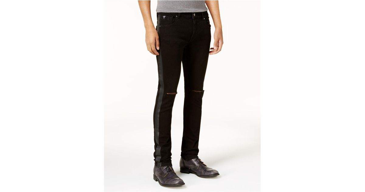 Guess Denim Men S Ripped Tuxedo Stripe Skinny Jeans In