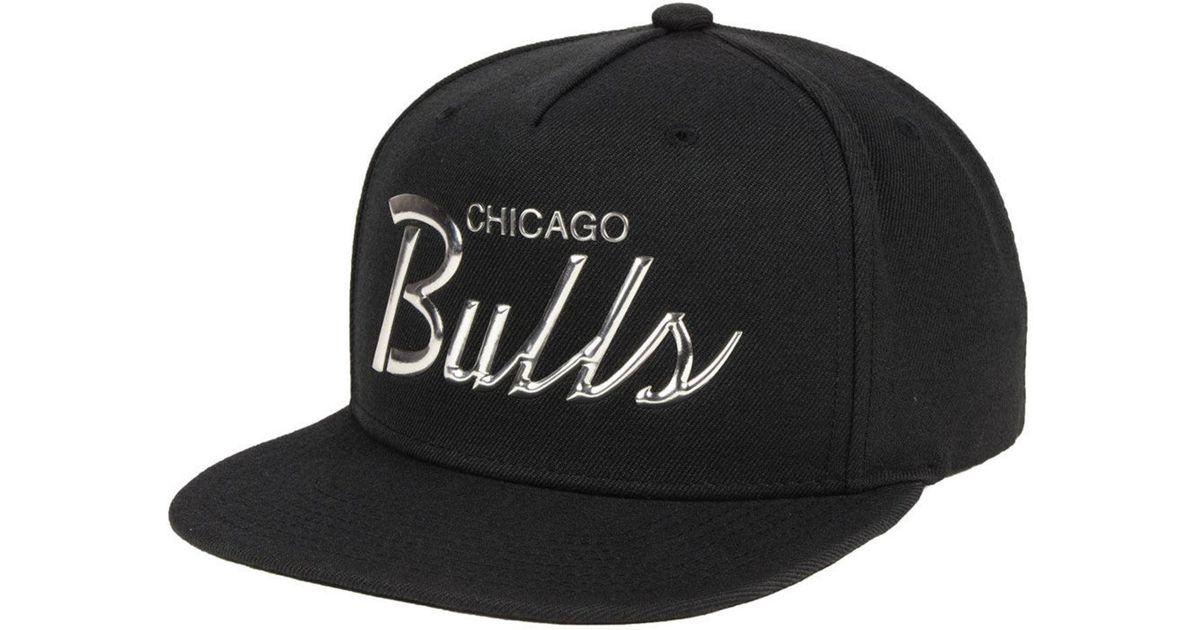 online retailer 45194 89785 Lyst - Mitchell   Ness Chicago Bulls Metallic Tempered Snapback Cap in  Black for Men
